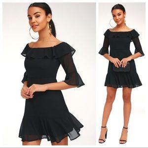 Lulu's Romantic Mood Off The Shoulder Black Dress